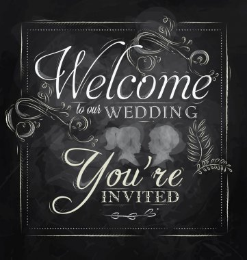 Wedding lettering Welcome to our wedding, you're invited