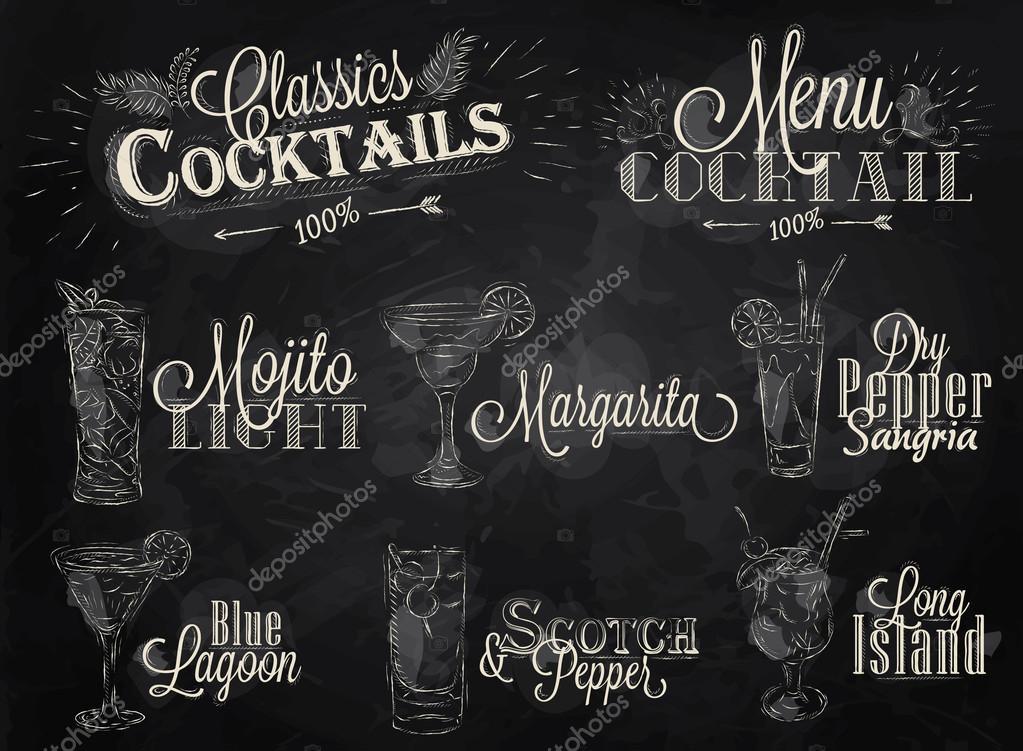 Set of cocktail menu in vintage style