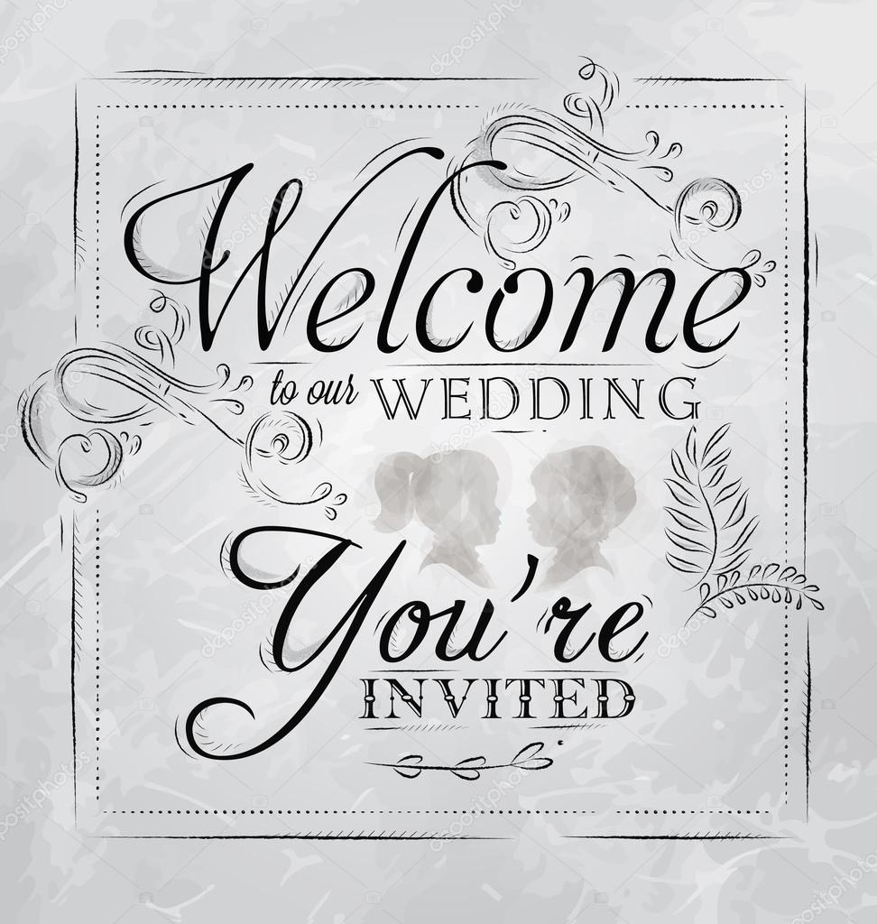 Wedding lettering Welcome to our wedding, you're invited — Stock Vector © anna42f #29786717