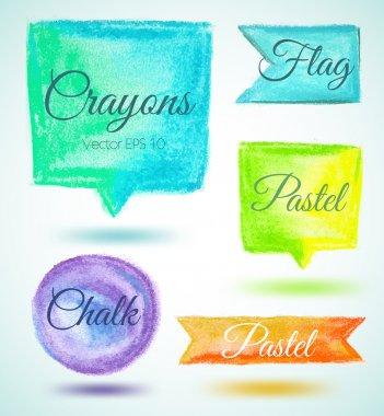Set watercolor speech bubbles ribbons flags