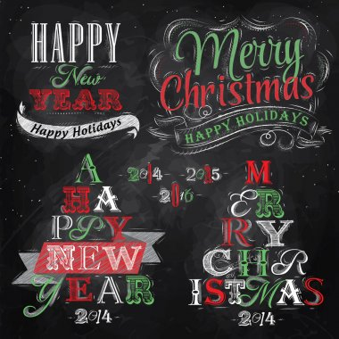Merry Christmas and New Year lettering collection of Christmas tree