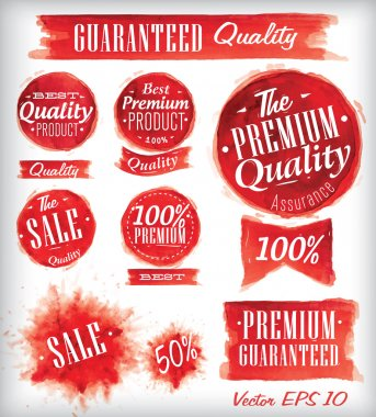 Set of watercolor Old Premium Quality Badges collection