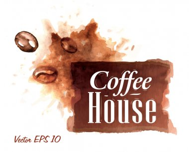 Set of watercolor coffee house Badges collection