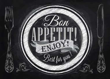 Bon appetit! enjoy! Best for you lettering on a plate with a fork and a spoon on the side in retro style drawing with chalk on blackboard. stock vector