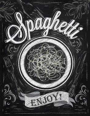 Poster lettering spaghetti enjoy
