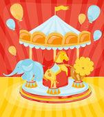 Fotografie Zirkuskarussell mit Tieren