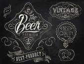 Fotografie Vintage prvky stylizované pod křídové kreslení na téma piva