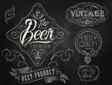 Vintage Elements stylized under a chalk drawing on the theme of beer