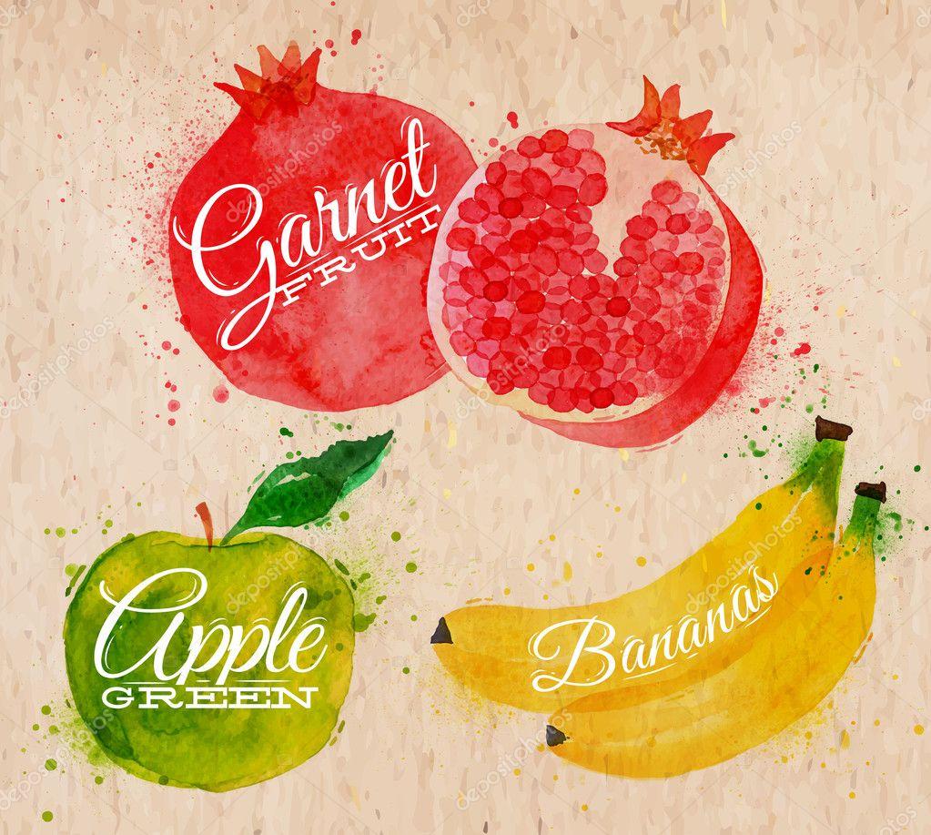 Fruit watercolor watermelon, banana, pomegranate, apple green in kraft