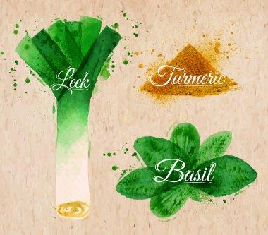Spices herbs watercolor leeks, basil, turmeric kraft