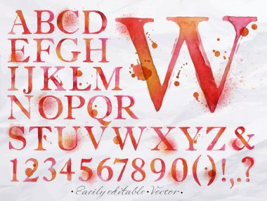 Alphabet watercolor red