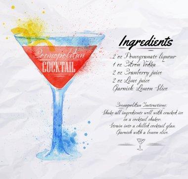 Cosmopolitan cocktails watercolor