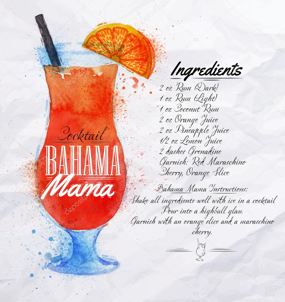 Bahama mama cocktails watercolor