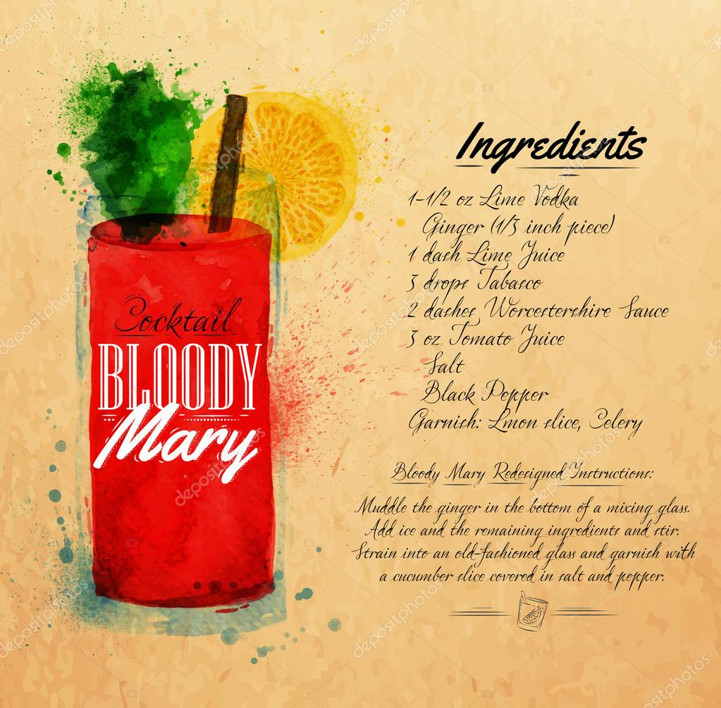 Bloody mary cocktails watercolor kraft
