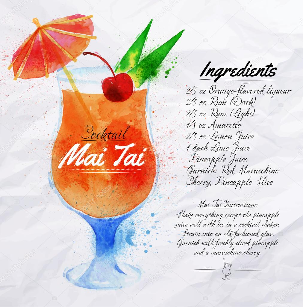 Mai Tai cocktails watercolor