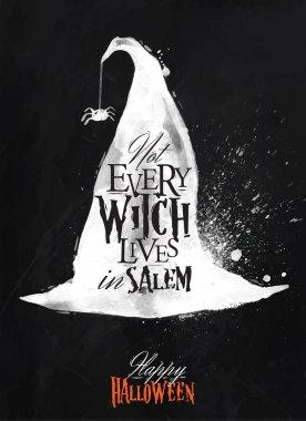 Witch hat halloween poster chalk