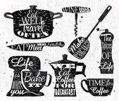 Fotografia ristorante di cucina simbolo scritte depoca