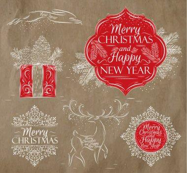 Merry Christmas graphics elegant vintage kraft