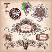 Hand drawn vector set of wine, grapes and winemaking