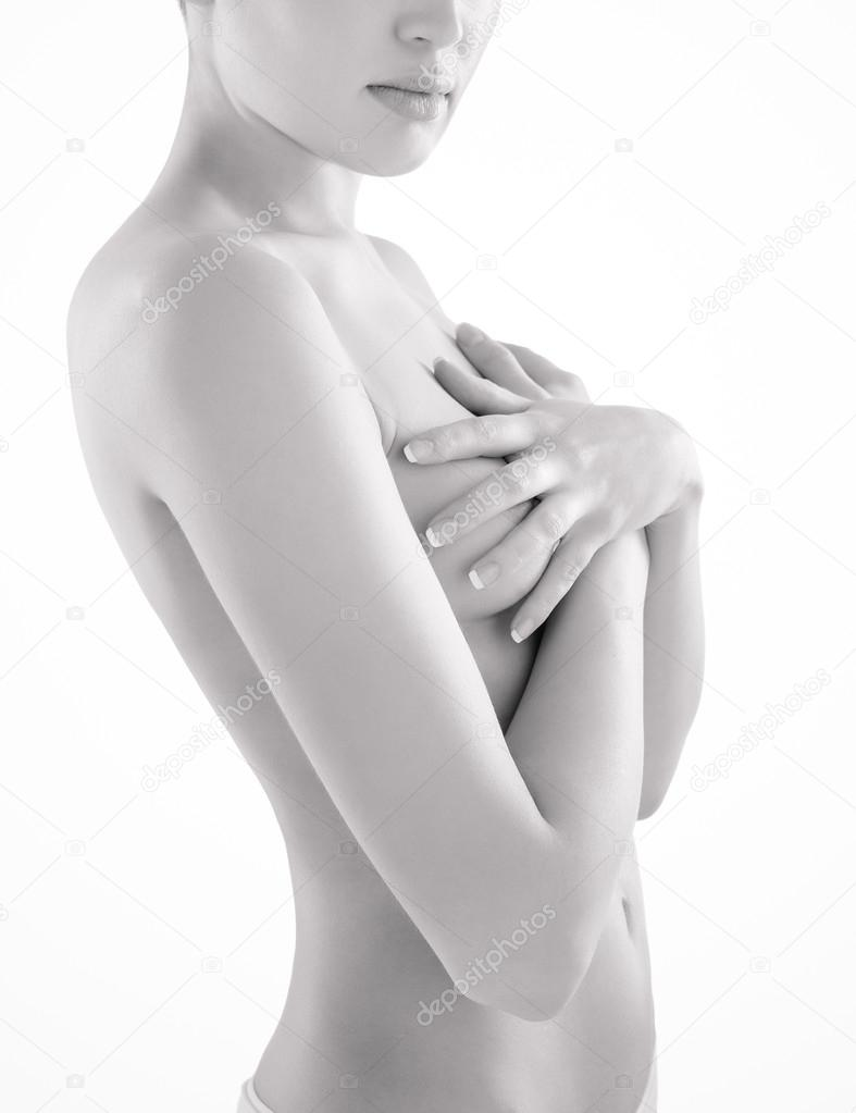 Beautiful half nude woman covering breasts with hat hand towel for sale by maxim images prints
