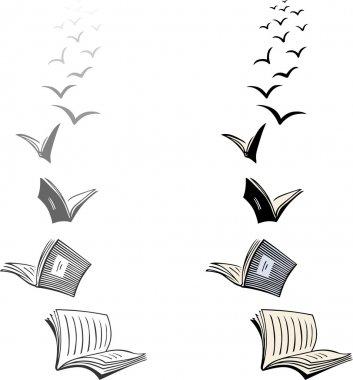 Two flocks of flying books stock vector
