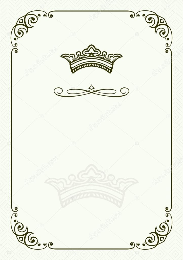 crown frame on light green background vector by denbarbulat