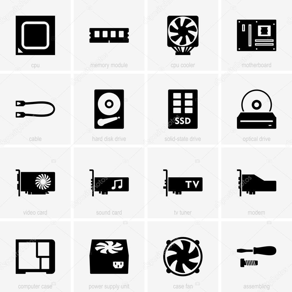 Computer Komponenten Symbole — Stockvektor © Den.Barbulat #23051580