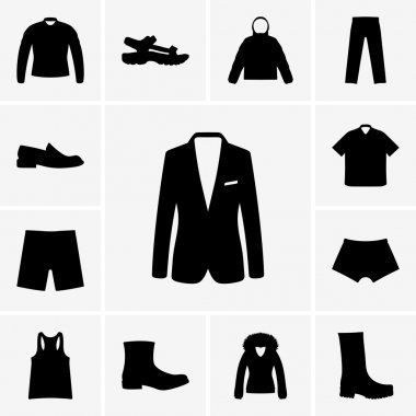 Man clothers and shoes icons