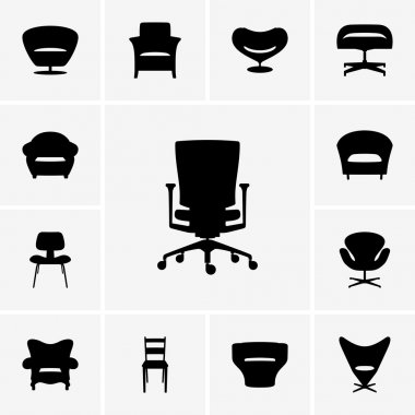 Set of modern chair icons stock vector