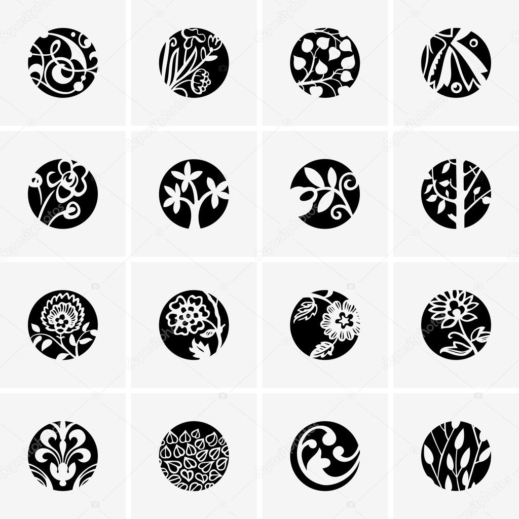 Flower round icons