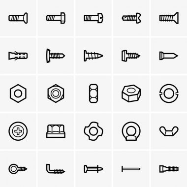 Screws and nuts icons
