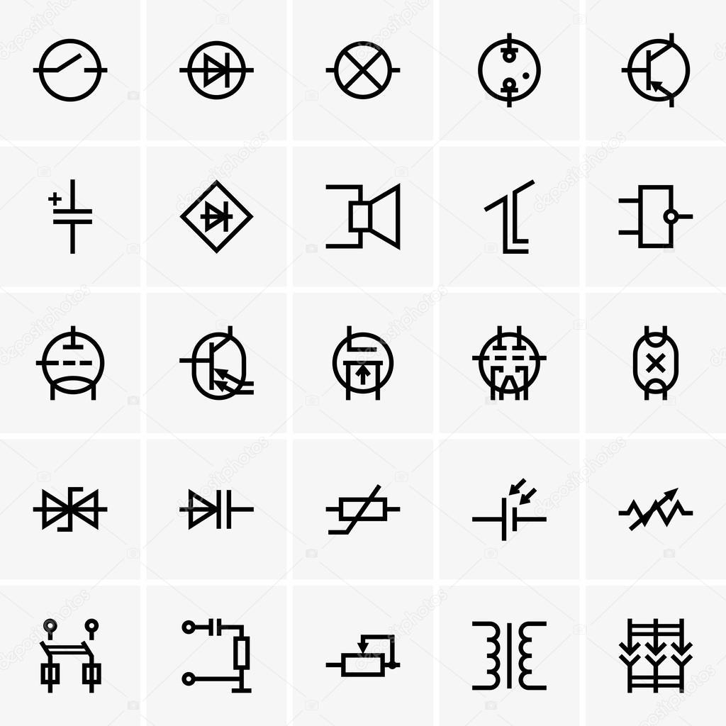 elektronische Bauteile-Symbole — Stockvektor © Den.Barbulat #42706987