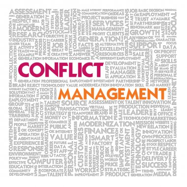 Business word cloud for business and finance concept, Conflict Management