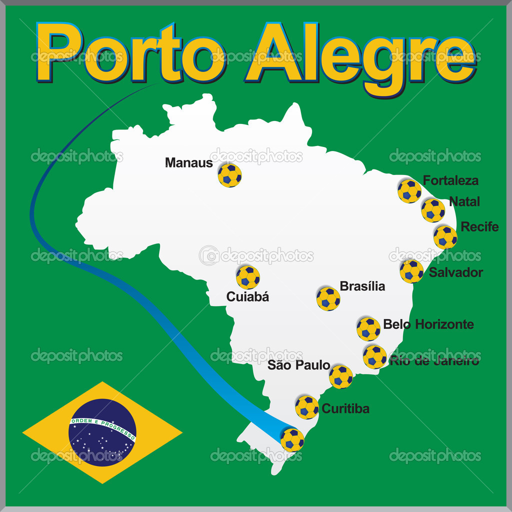 porto alegre mapa porto alegre   bola de futebol do Brasil mapa — Vetores de Stock  porto alegre mapa