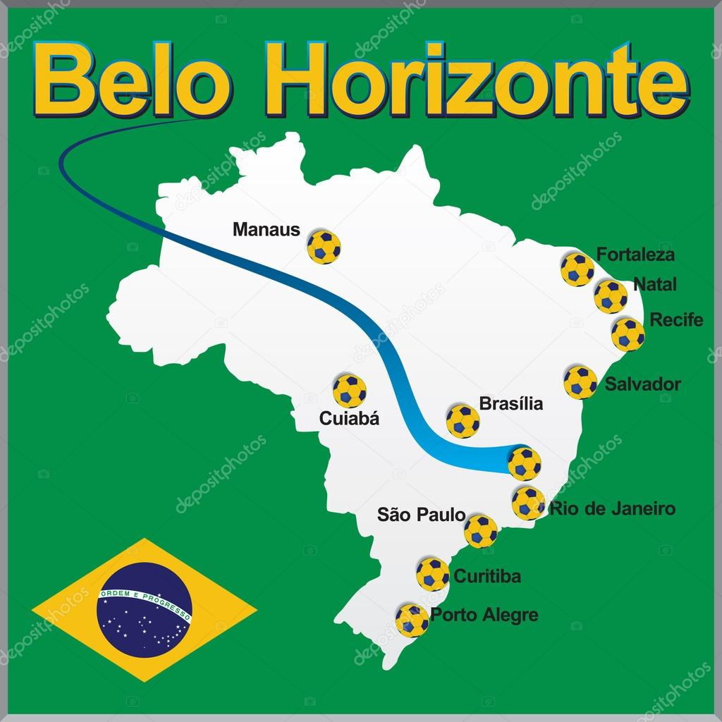 Belo Horizonte Brazil map soccer ball Stock Vector dicogm