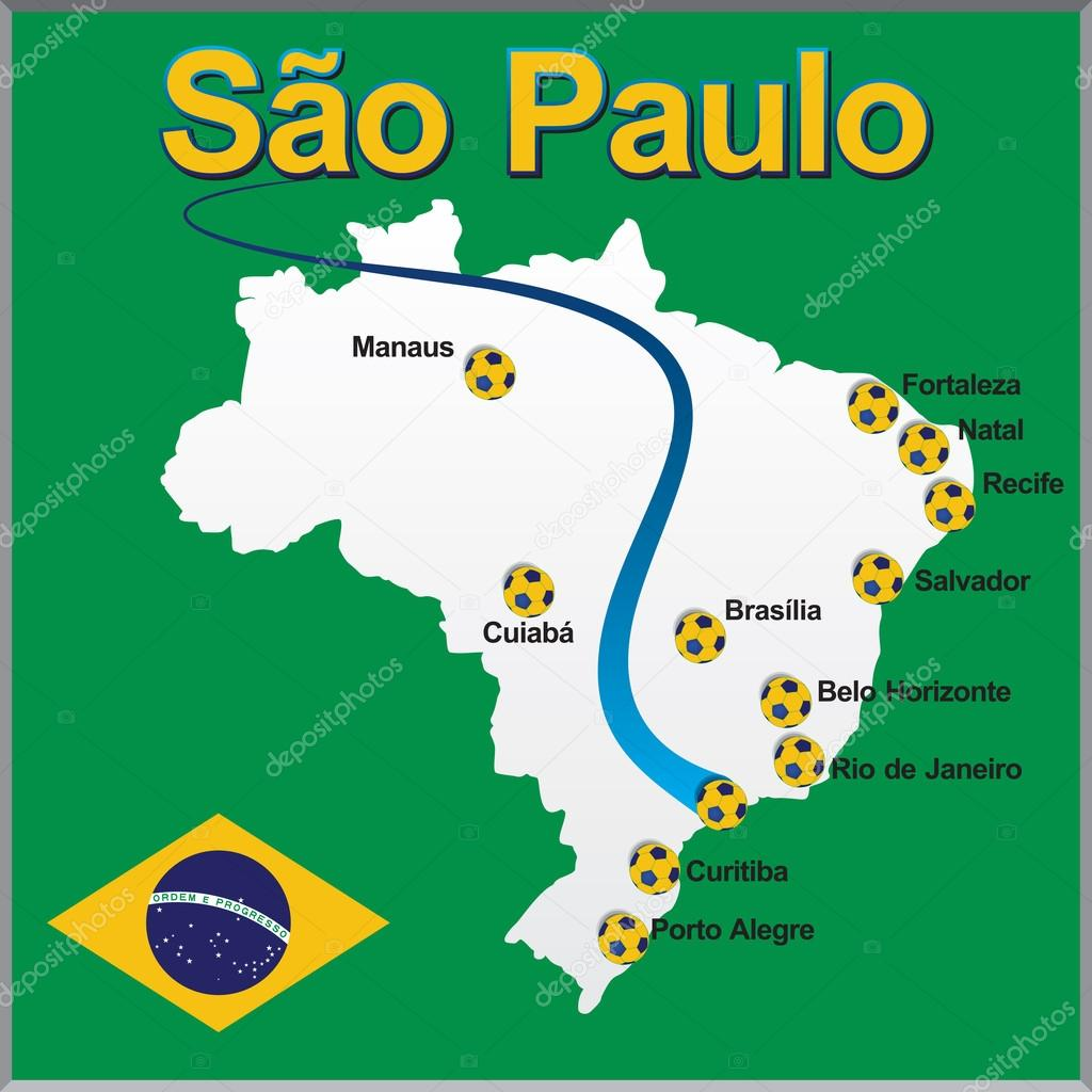 Sao Paulo - Brazil map soccer ball — Stock Vector © dicogm ...
