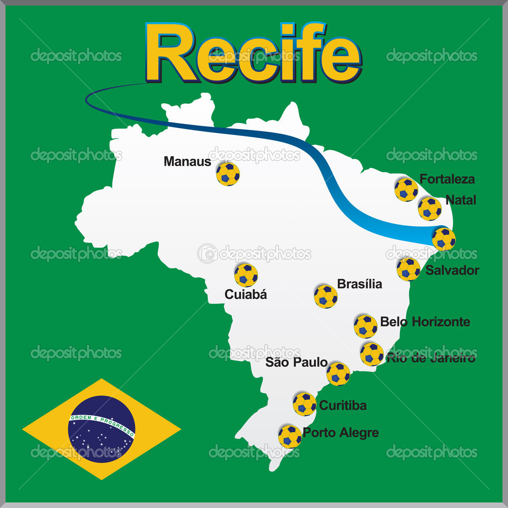 Recife Brazil map soccer ball Stock Vector dicogm 39987385