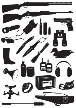 The figure shows the silhouettes of hunting equipment