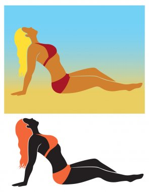 The figure shows the silhouette of a girl sunbathing