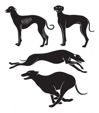 The figure shows the hounds clip art vector
