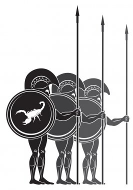 The figure shows the warriors with spears