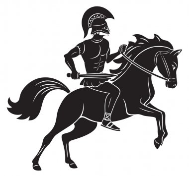 The picture shows a gladiator with a spear