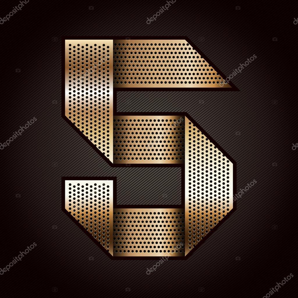 číslo kovová zlatá stuha - 5-pět — Stock Vektor © ecelop  12539835 b76e6c4138