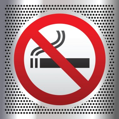 No smoking symbol on a chromium background