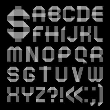 Font from scotch tape - Roman alphabet