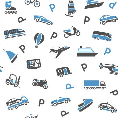 Seamless background transport icons - wrapping paper, 10eps