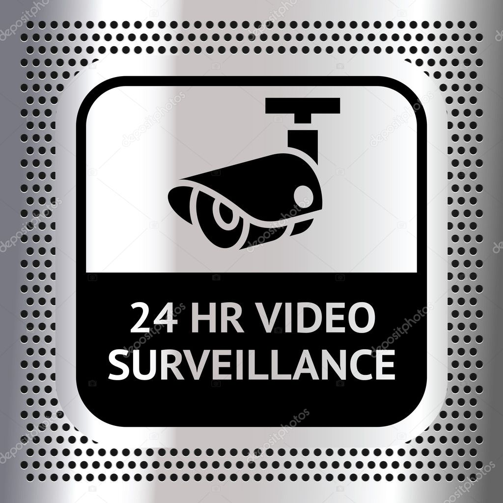 Video Surveillance Symbol On A Metallic Chromium Background Stock