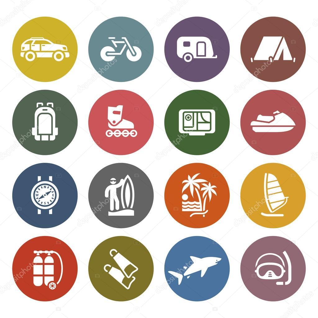 Vacation, Recreation & Travel, icons set