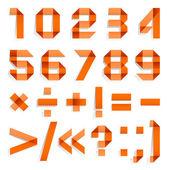 carattere piegato dalla carta colorata - numeri arabi, arancio