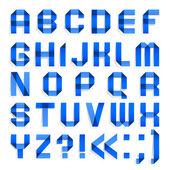 Fotografie Alphabet von farbigem Papier - blauen Briefe gefaltet